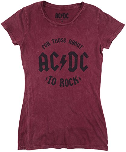 (ACDC For Those About to Rock Juniors T-Shirt in Burgundy. S-XL.)
