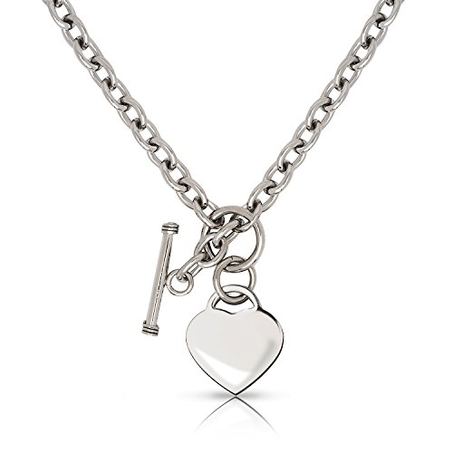 Allmygold Jewelers Stainless Steel Engravable Heart Charm Tag Toggle Necklace 18
