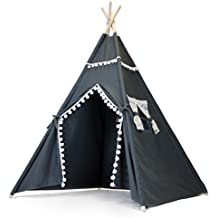 The Little Jo Kids Teepee Tent - Large 6' Indoor Outdoor Teepee Play Tent for Girls or Boys - White Lace or Camo Window Trim Portable Canvas Indian Tipi Party Fort with Carrying Case - By JumpOff Jo