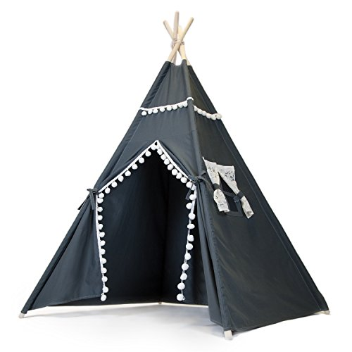 The Little Jo Kids Teepee Tent - Large Indoor Outdoor Teepee Play Tent for Girls or Boys - White Lace or Camo Window Trim Portable Canvas Indian Tipi Party Fort with Carrying Case - By JumpOff Jo