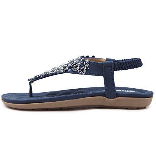 Hattie Women's Rhinestone Flower Ankle Strap Sandals Summer Clip Toe Flats Navy I3uUvuvq