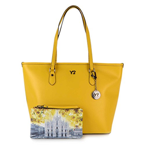 Borsa Shopping grande in pelle Y Not - 797-B colore Giallo Multicolor