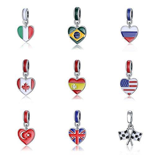 Country Heart Flag Enamel Dangle Bead Fit European 925 Silver Charms Bracelet ITALIAN - Flag Enamel Italian Charm
