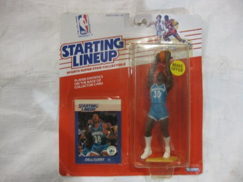 Starting Lineup NBA 1989 Edition Charlotte Hornets Dell Cury With Collector Card From Kenner ()