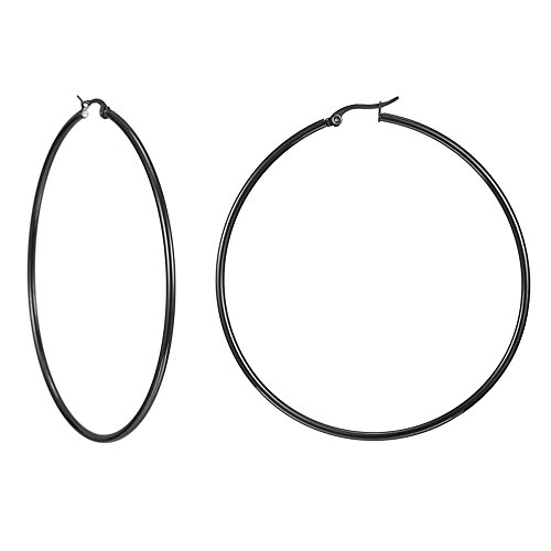 (IDB Stainless Steel Big Hoop Earrings - Gold/Rose Gold/Silver/Black Tones - 7 different sizes to choose from (Black 1.5 inches (40mm)))