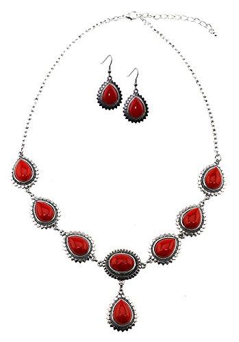 Red Stone Teardrop Cabochon Set Link Necklace With Matching - Black Gem Coral