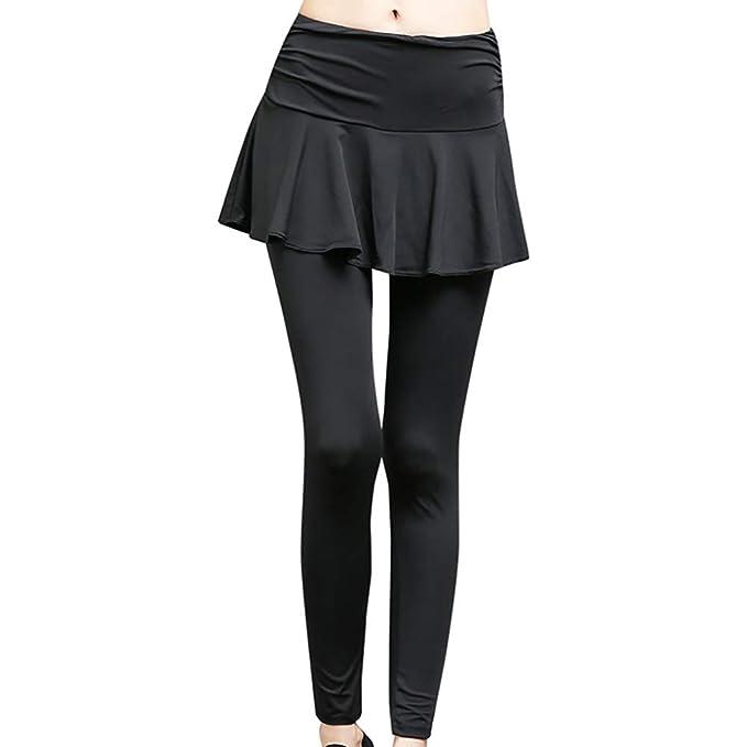 LFEU Pantalones de Falda de Yoga Pantalones Deportivos de Secado ...