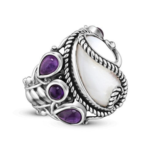 Carolyn Pollack Sterling Silver Mother of Pearl Amethyst Bold Ring