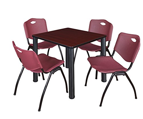 "Kee 30"" Square Breakroom Table- Mahogany/ Black & 4 'M' Stack Chairs- Burgundy"