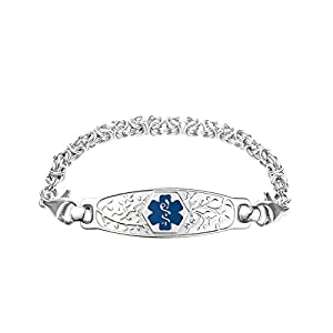 Divoti Deep Custom Laser Engraved Beautiful Olive Medical Alert Bracelet -Handmade Byzantine Stainless -Deep Blue