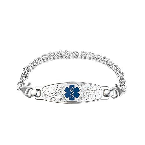 Divoti Custom Engraved Beautiful Olive Medical Alert Bracelet -Handmade Byzantine-Deep Blue-7.0