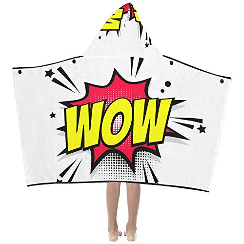 (Wow Sigh Lable Pop Art Soft Warm Cotton Blended Kids Dress Up Hooded Wearable Blanket Bath Towels Throw Wrap for Toddlers Child Girls Boys Size Home Travel Picnic Sleep Gifts Beach)