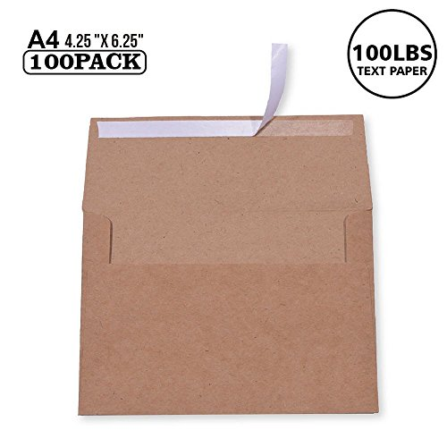 100 Pack, Size A4 , 100lbs Brown Kraft Paper 4 x 6 Envelopes - For 4x6 Cards| Self Seal| Perfect for Weddings, Invitations, Baby Shower| Stationery For General, Office | 4.25 x 6.25 inches (A4)