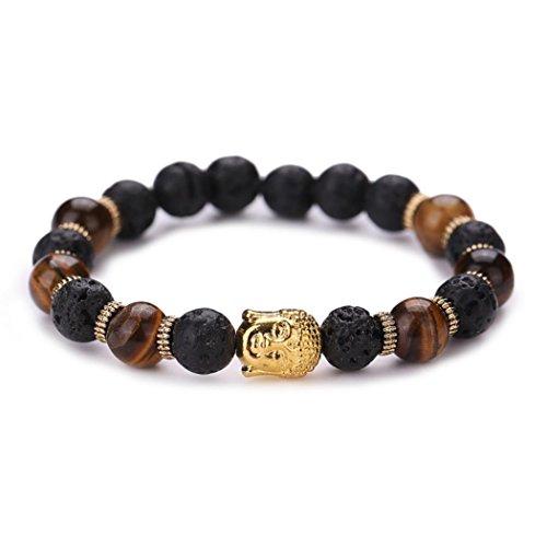 Unpara Jewelry Buddha Beaded Bracelet Elastic Tiger-ite Bracelet Chain Charm Turquoise Bracelets Jewelry For Women Men (Gold) (Buddha Jewellery)