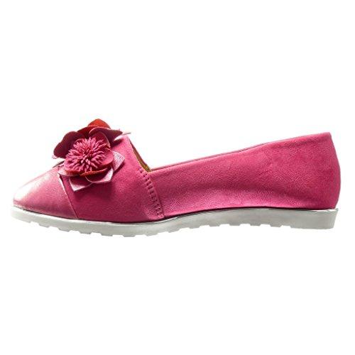 Angkorly - Zapatillas de Moda Mocasines slip-on suela de zapatillas mujer flores fantasía Talón Plataforma 1.5 CM - Fushia