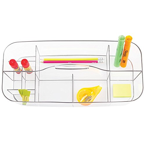 mDesign Large Plastic Desktop Office Storage Container & Organizer Portable Tote Caddy with Handle for Gel Pens, Pencils, Markers, Erasers, Staplers, Supplies - Clear by mDesign (Image #1)