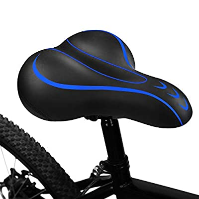 BLUEWIND Bike Seat, Most Comfortable Bicycle Seat Memory Foam Waterproof Bicycle Saddle - Dual Shock Absorbing - Best Stock Bicycle Seat Replacement for Mountain Bikes, Road Bikes