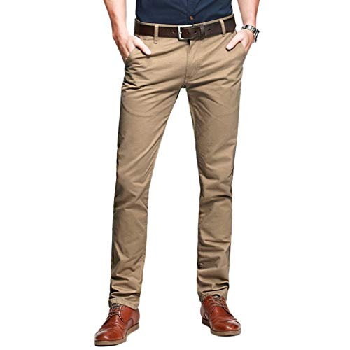 OCHENTA Mens Casual Slim-Tapered Flat-Front Pants Khaki Lable 30 (US 28)