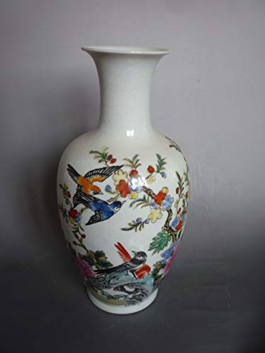 BeesClover Rare Old famille Rose Porcelain Magpies Spring Day vase, Hand Painting, Show