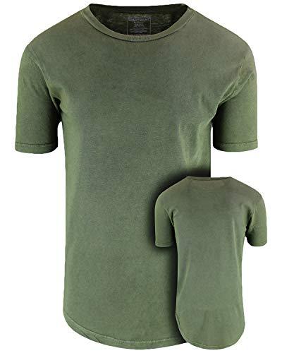 ShirtBANC Mens Hipster Hip Hop Long Drop Tail T Shirts (Vintage Olive, XL)