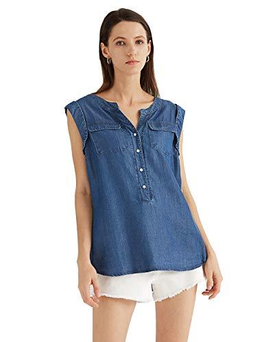 Escalier Women's Denim Shirt Chambray Tencel Sleeveless V-Neck Jean Shirts Blouse Dark Blue X-Large