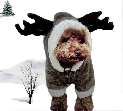 Mkono Cute Pet Dog Clothes Cardigan Four-legged Jumpsuit Soft Plush Warm Winter Hoodie Costume Apparel--Brown Cartoon (Deer Costume For Dog)