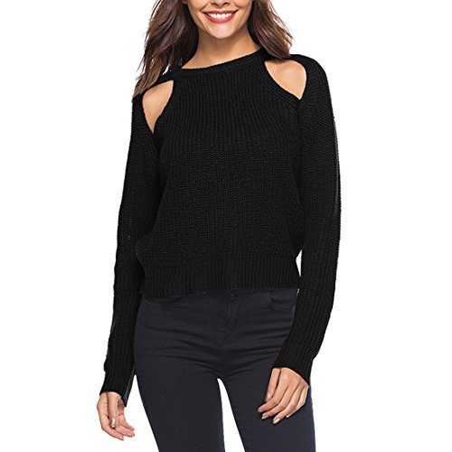 Ai.Moichien Women Cold Shoulder Long Sleeve Pullover Knitted Hollow Out Sweater Knit Jumper Black L