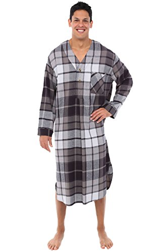 Alexander Del Rossa Mens Flannel Nightshirt, Long Lightweight Cotton Kaftan, Large Black and Grey Plaid (A0548Q36LG)