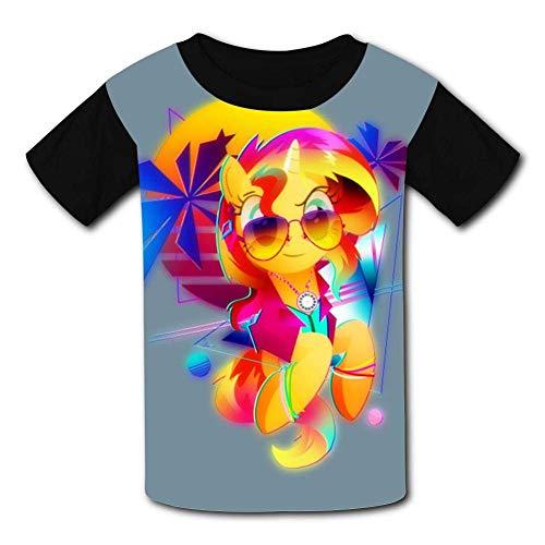 WXZDH My Sunset Shimmer Little Pony Children T-Shirts Crew Neck Short Sleeve Raglan Costume Tee Shirt for Teenager -