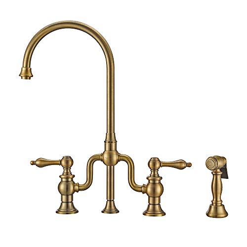 Whitehaus Collection WHTTSLV3-9773-NT-AB Twisthaus + Kitchen Bridge Faucet, Large, Antique Brass