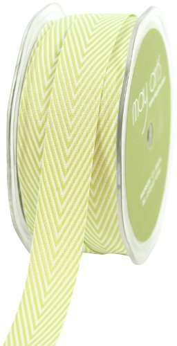 - May Arts 3/4-Inch Wide Ribbon, Celery Twill with Chevron Stripes by May Arts