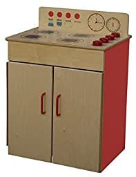 Healthy Kids Colors WD10100R Strawberry Red Range Rounded, Unbreakable, Plastic Handles, colorful burners and Moveable Control Knobs