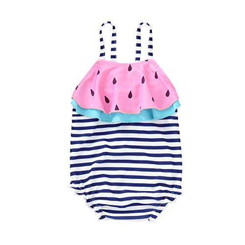 Mini honey Infant Toddler Baby Girls One-Piece Swimsuit Pineapple Printed Backless Halter Swimwear for Beach (6-9 Months, Blue)