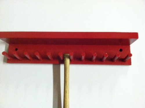 Baseball Bat Rack Display with Shelf Meant to Hold up to 11 Mini Collectible Bats Red by MWC