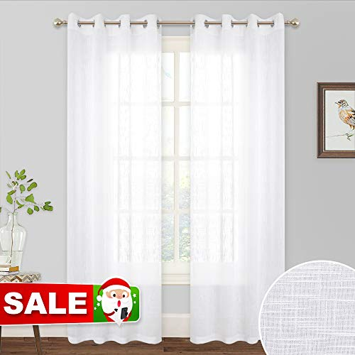 RYB HOME Sheer Curtains 84 inches - Linen Textured Privacy Semi Sheer White Backdrop Curtains for Bedroom Living Room Canopy Sun Room Wedding, 52 x 84 inch Long, 1 Pair