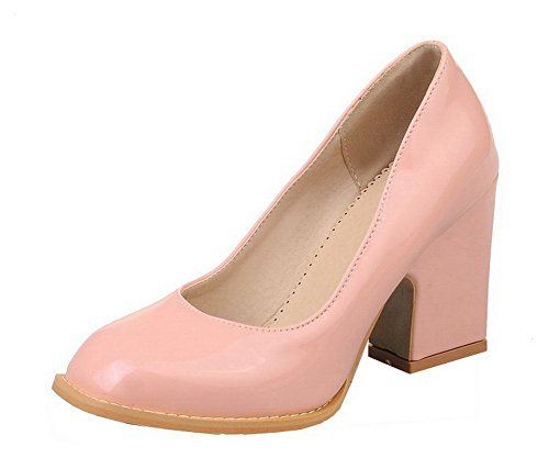 AmoonyFashion Womens Square Toe Patent Leather Solid High-Heels Pumps-Shoes Pink nDJMc