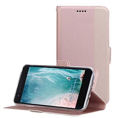 LG it LGV36 ケース QiCASE LGV36 対応手帳型 超耐磨高級PUレザー スタンド機能付き ストラップ付き 財布型 ケース (LG it LGV36ケース ローズゴールド)