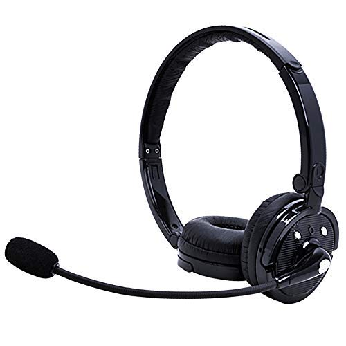 Bluetooth Headphones with Mic,YAMAY Wireless Bluetooth Headset Noise Cancelling Headphones with Boom Microphone On Ear Phone Headset for Office Phone Call Center Customer Service PC Cell Phones (Best Bluetooth Headphones For Phone Calls)