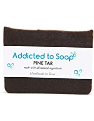 Addicted to Soap – Pine Tar Soap | Mens Soap Bar – Black Soap with Natural Organic Olive & Coconut Oils – Best Soap for Men Guaranteed Handmade in Texas Body Hand Soap Bar (Pine Tar Soap)
