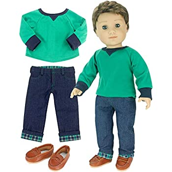392e5ba03 Sophia's 18 Inch Boy Doll Outfit Only 3 Pc. Green Shirt, Brown Penny  Loafers, Flannel Cuffed Jeans Outfit Only for Boy Dolls. Perfect for American  Dolls and ...