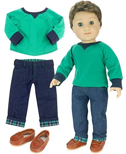 [해외]Sophia`s ques 그린 셔츠 & 플란넬 커프 진 인형 45.72cm 소년 인형 / Sophia`s 18 Inch Boy-Doll-Outfit Only 3 Pc. Green Shirt, Brown Penny Loafers, Flannel Cuffed Jeans Outfit Only for Boy Dolls. Perfect for American Dolls and More!