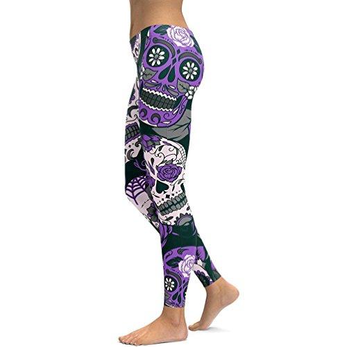 Bonjouree Legging Sport Femme Taille Haute Yoga Jogging Fitness Imprimé Pantalon Skinny