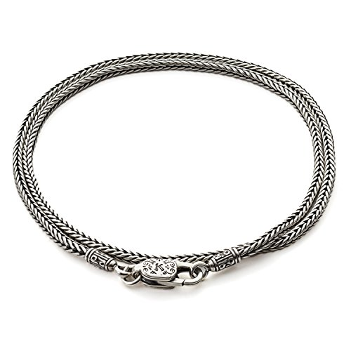 Konstantino Men's 925 Sterling Silver Chain and Cord, 22 inches long, 1.5mm wide