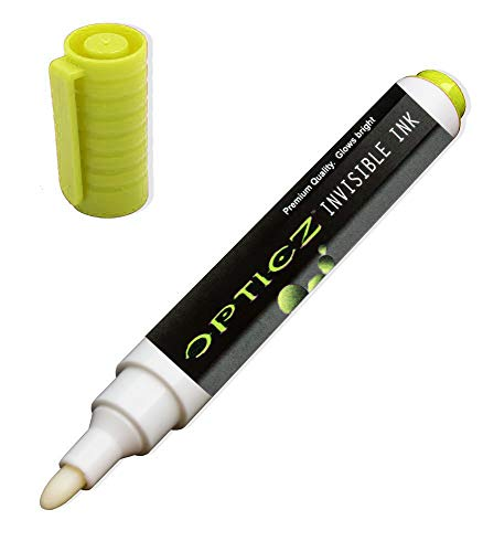 Opticz UV Blacklight Reactive Large Tip Invisible Ink Marker, Yellow
