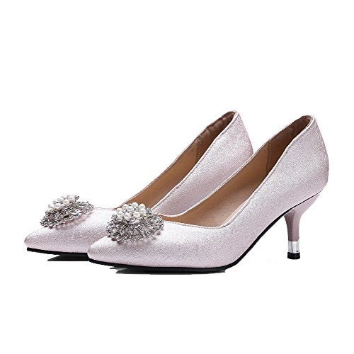 VogueZone009 Medio Tirare Donna A Tacco Flats Luccichio Rosa Scarpe Puro Punta Ballet qgn1wq6Zx