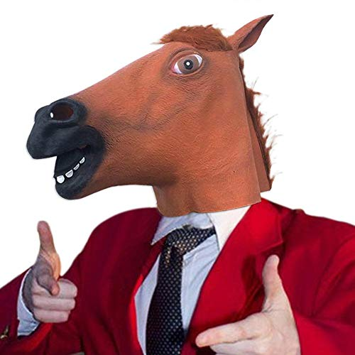 ditional Horse Head Mask Halloween Mask COS Ball Latex Horse Head Mask Animal Headgear Brown Horse Head Amiable]()