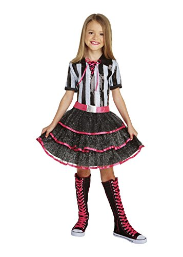 Big Girls' Referee Dazzler Costume Black Medium / (Kids Referee Costume)