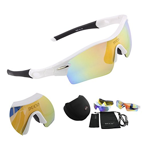 Duco Polarized Sports Sunglasses with 5 Interchangeable Lenses UV400 Protection Sports Sunglasses for Cycling Running Glasses 0026