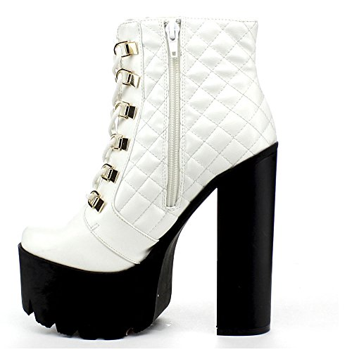 Lace Size Color Up Toe BUMPER WHITE ROCKER17 Chunky Platform 6 Boot Ankle Round Zipper Side Womens 6TIqf