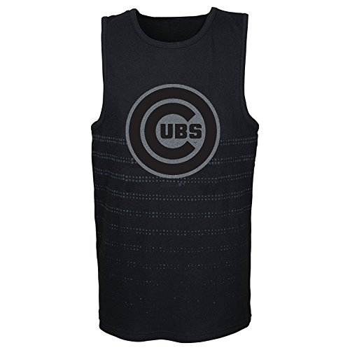 MLB Chicago Cubs Youth Boys 8-20 Reflection Tank-L (14-16), Black
